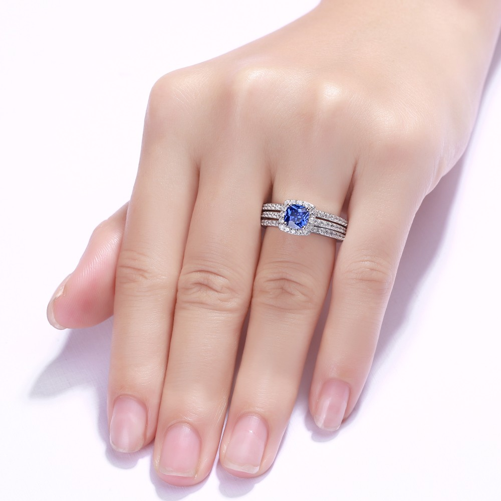 Cushion Cut 925 Sterling Silver Sapphire 3 Piece Halo Ring Sets ...