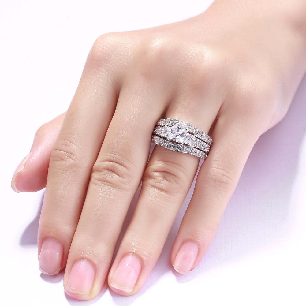 Princess Cut S925 Silver White Sapphire 3-Stone 3 Piece Ring Sets ...