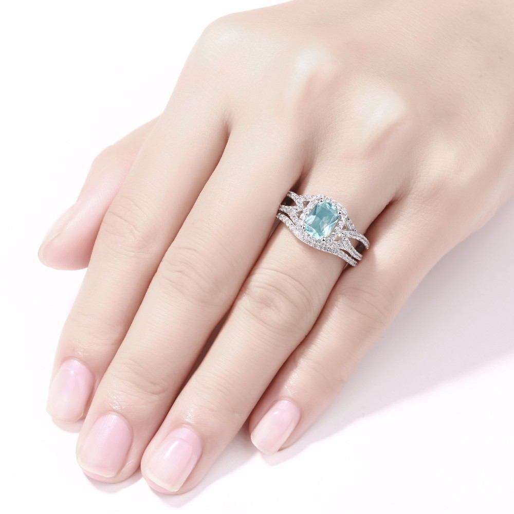Emerald Cut 925 Sterling Silver Aquamarine Halo Ring Sets - Lajerrio ...
