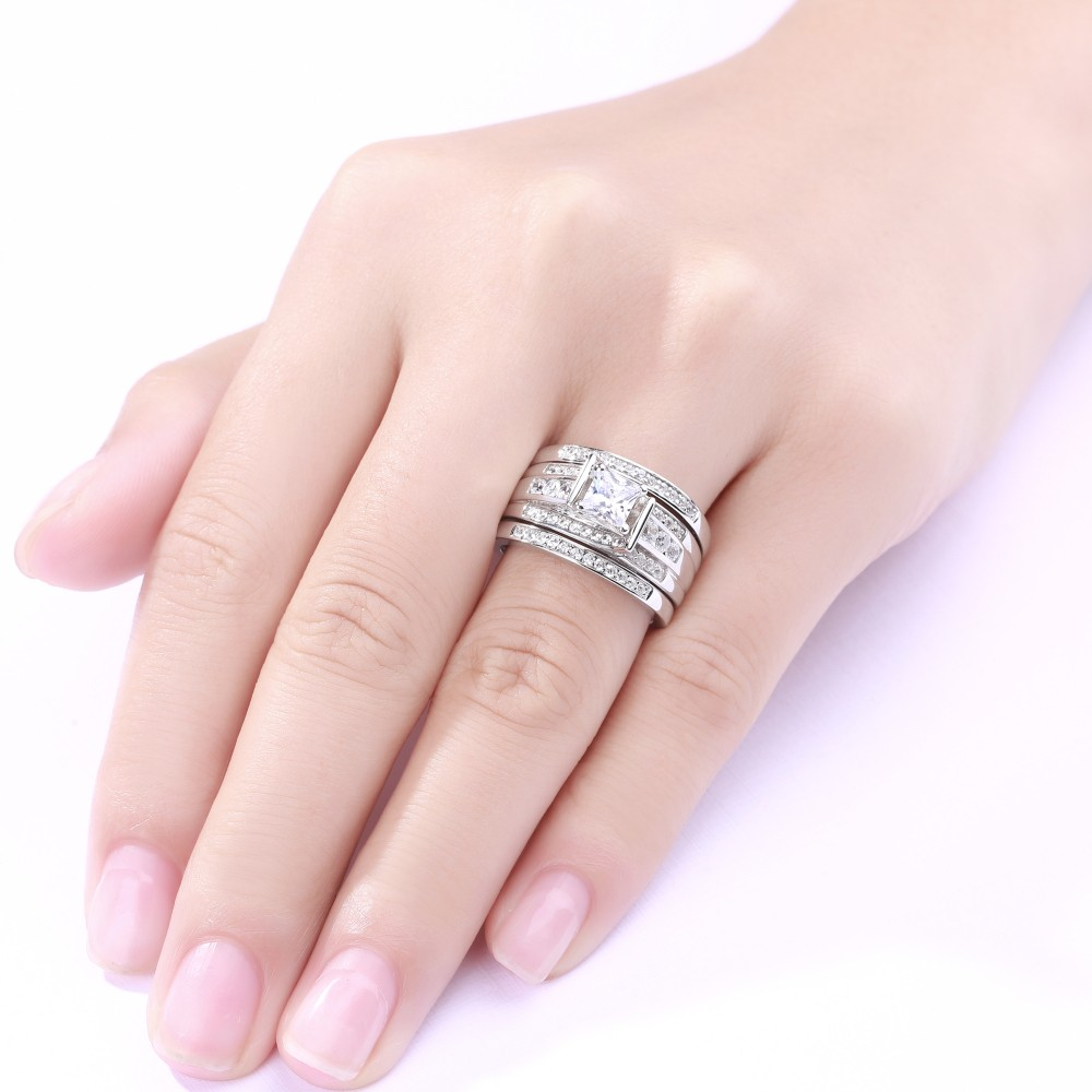 Princess Cut 925 Sterling Silver White Sapphire 3 Piece Ring Sets ...