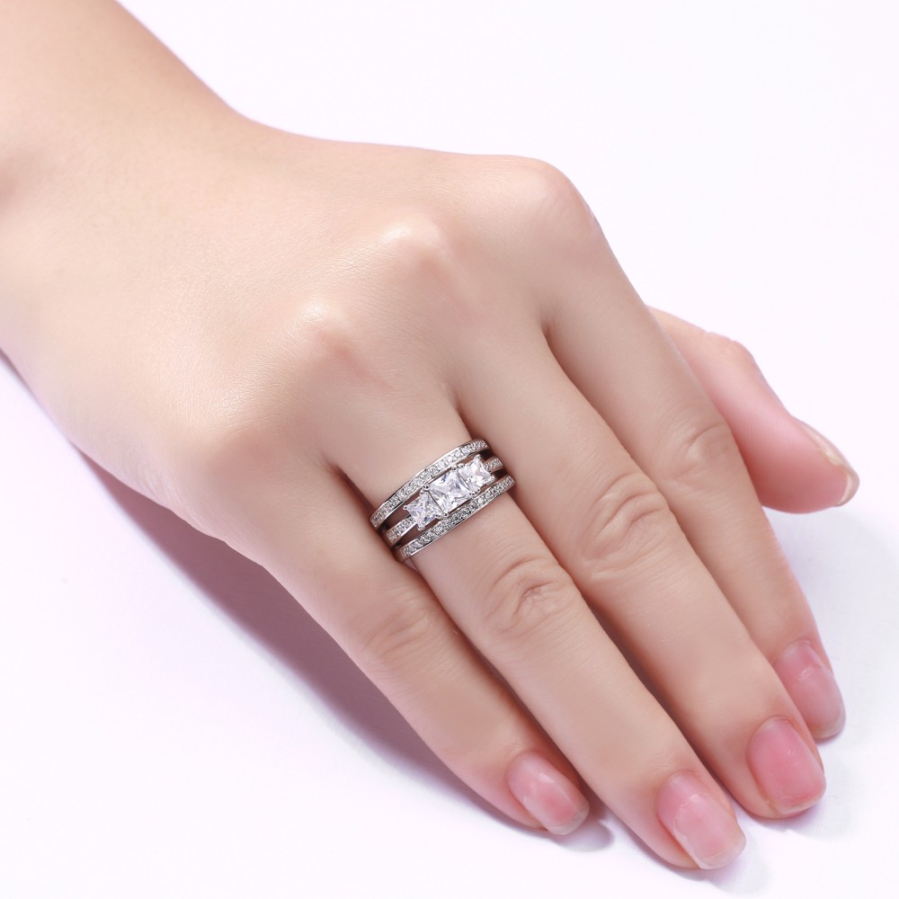 Princess Cut 925 Sterling Silver White Sapphire 3 Piece 3-Stone Ring ...