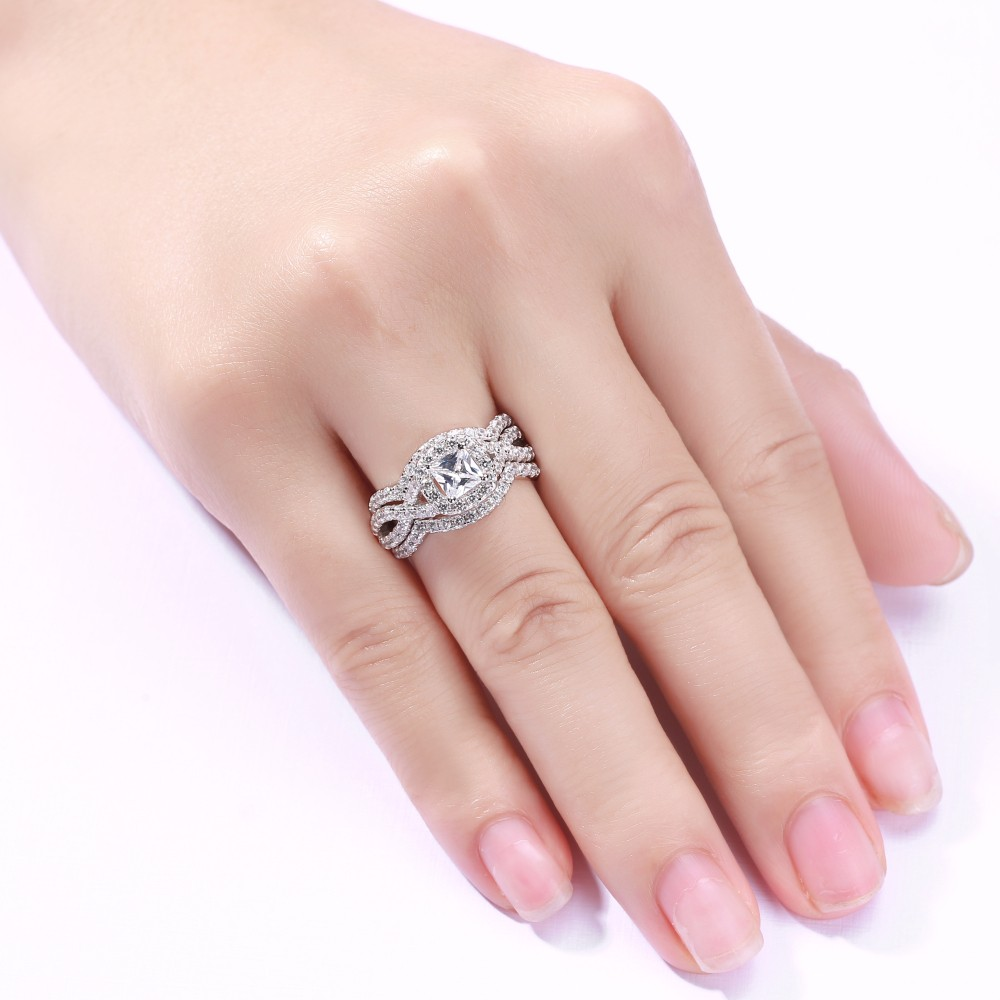 666868e8166e29 Round & Princess Cut White Sapphire 925 Sterling Silver 3 Piece Ring Sets