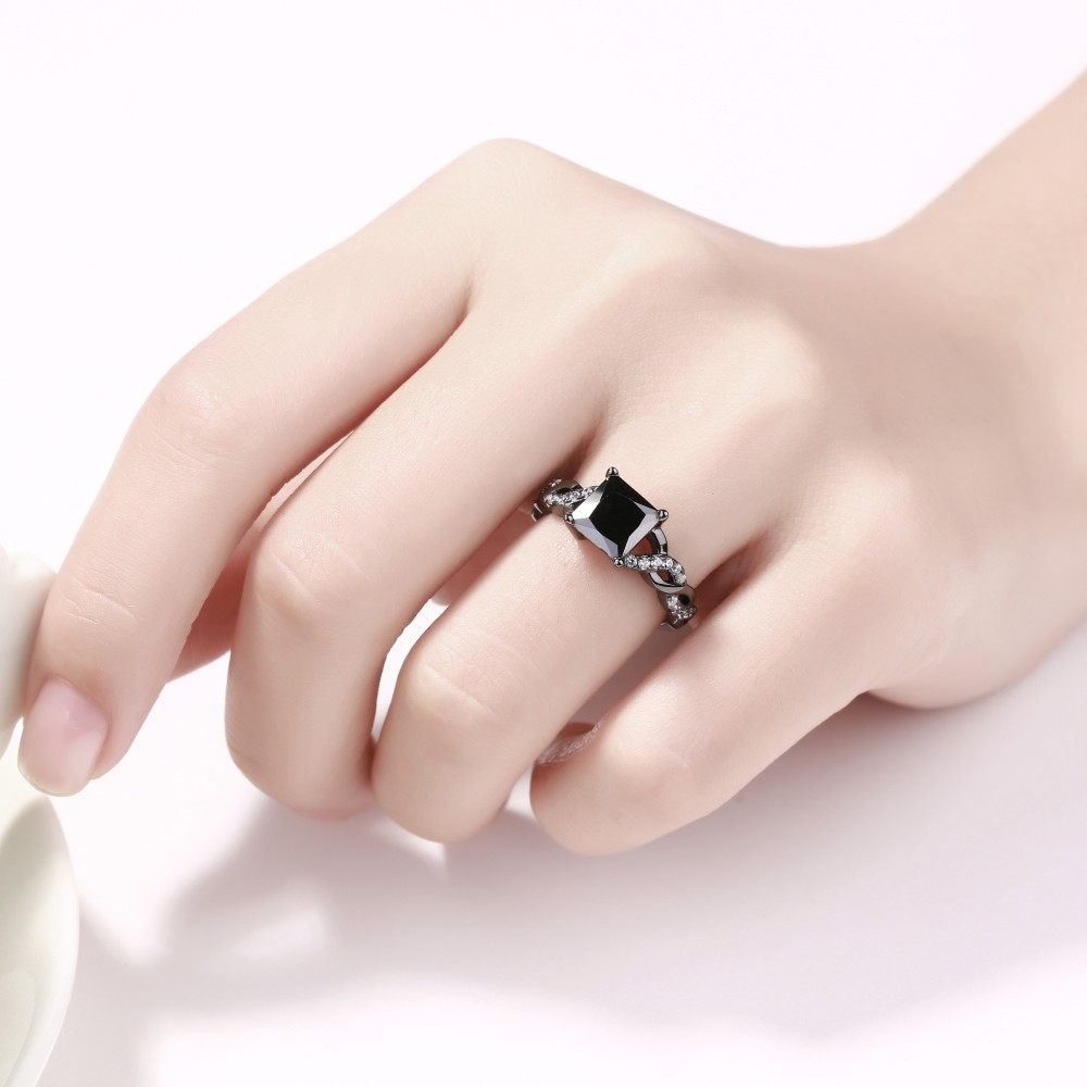 Princess Cut Black Sapphire Black Sterling Silver Engagement Rings ...