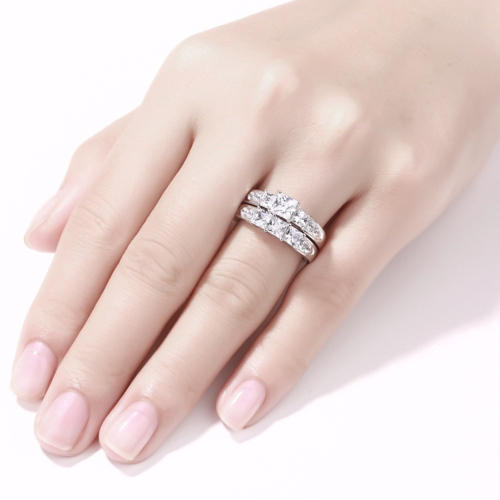 Princess Cut White Sapphire Women\'s 925 Sterling Silver Bridal Sets ...