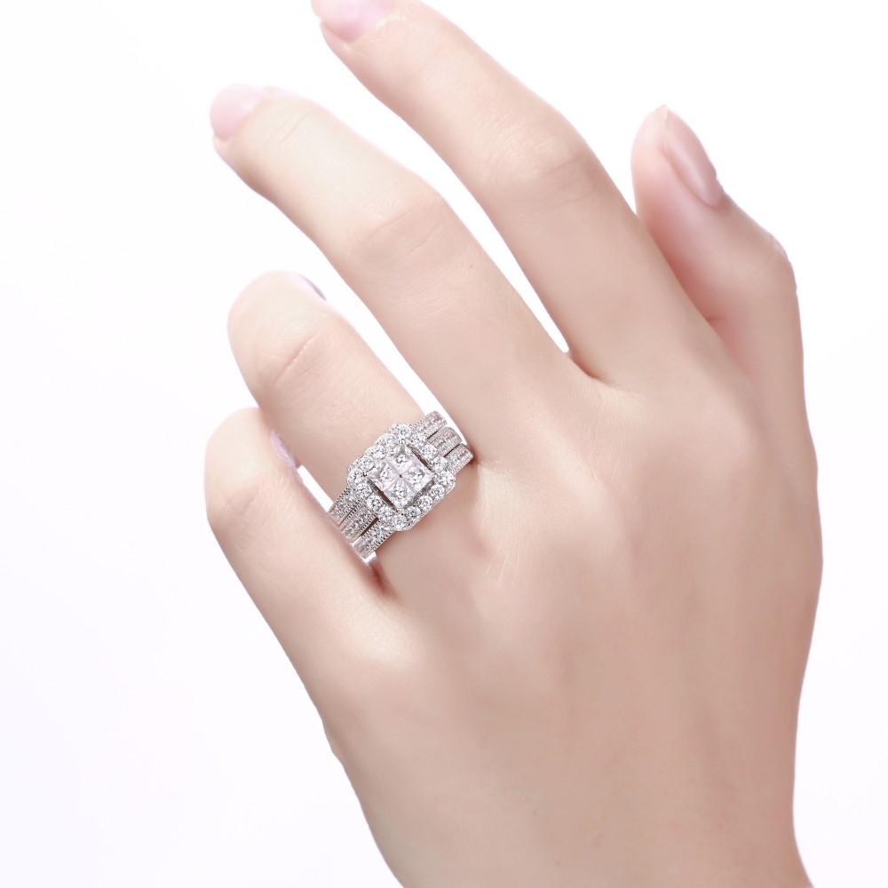Women\'s Princess Cut White Sapphire 925 Sterling Silver Bridal Sets ...