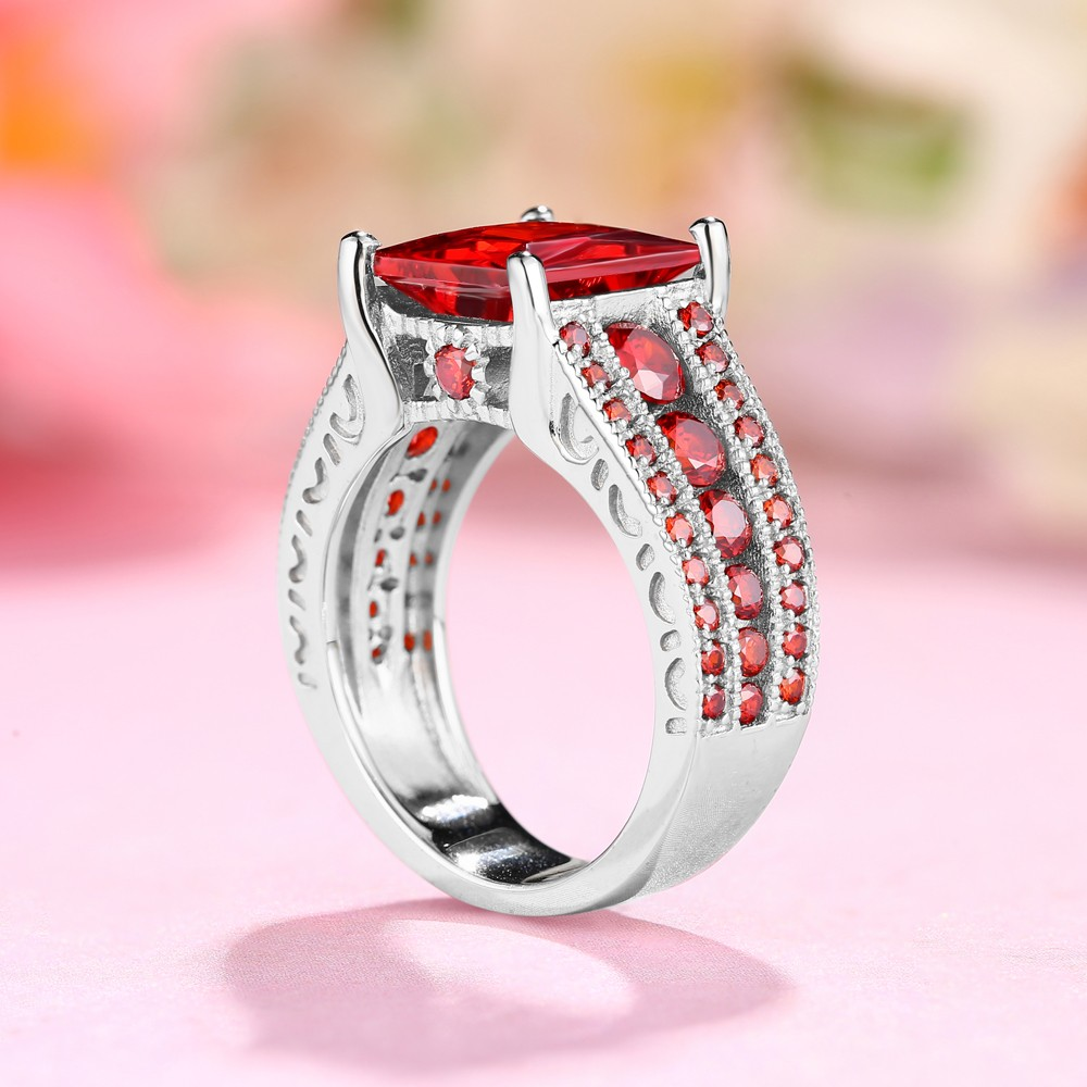 Ruby Princess Cut 925 Sterling Silver Engagement Rings - Lajerrio ...