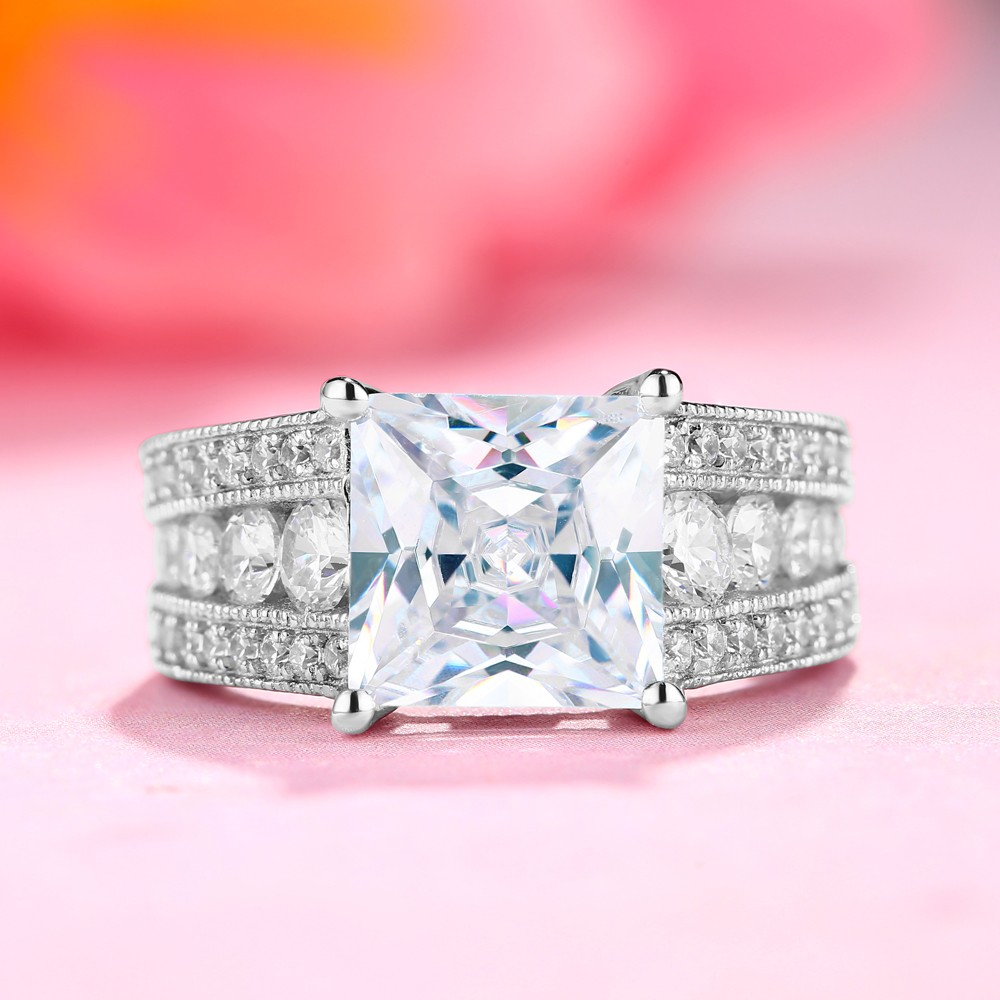 White Sapphire Princess Cut 925 Sterling Silver Engagement Rings ...