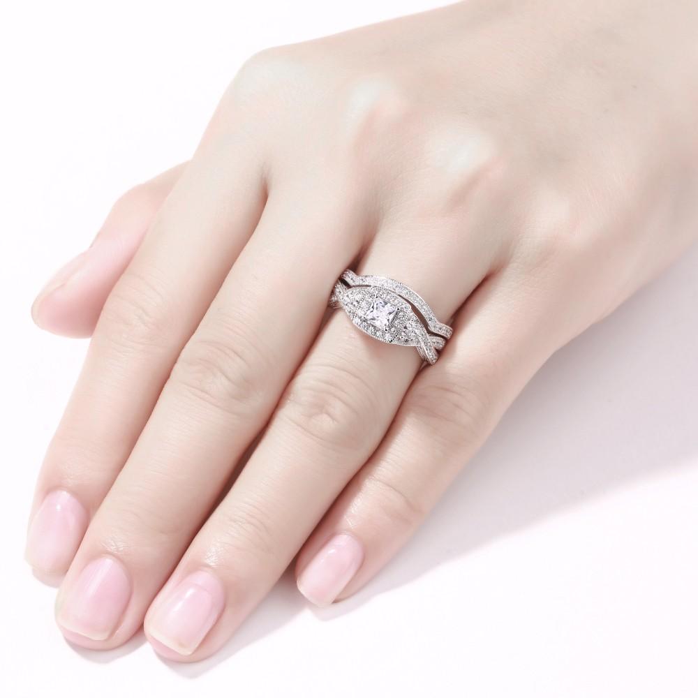 Princess Cut Gemstone 925 Sterling Silver Bridal Sets Lajerrio Jewelry
