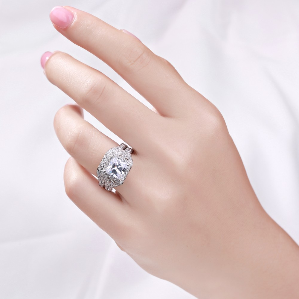 Princess Cut White Sapphire 925 Sterling Silver Women\'s Ring Set ...