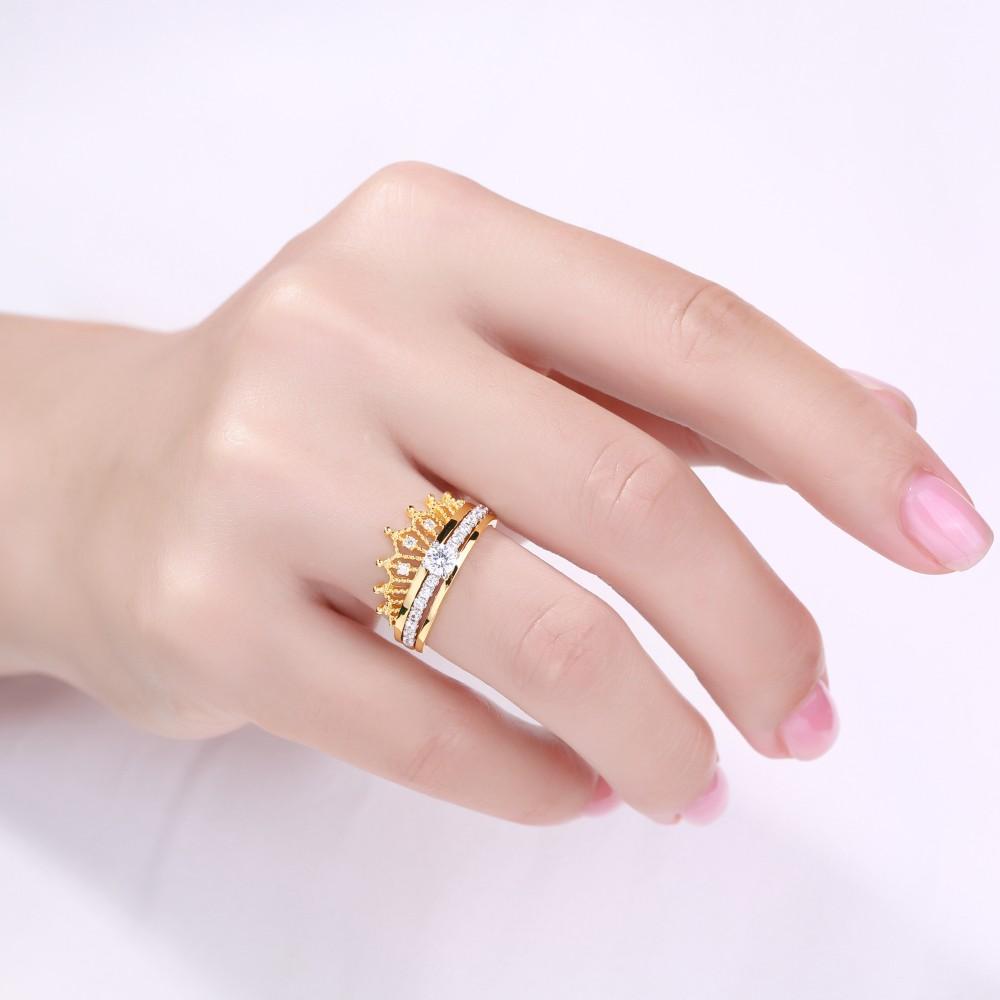 Crown Round Cut White Sapphire Sterling Silver Women\'s Wedding Ring ...