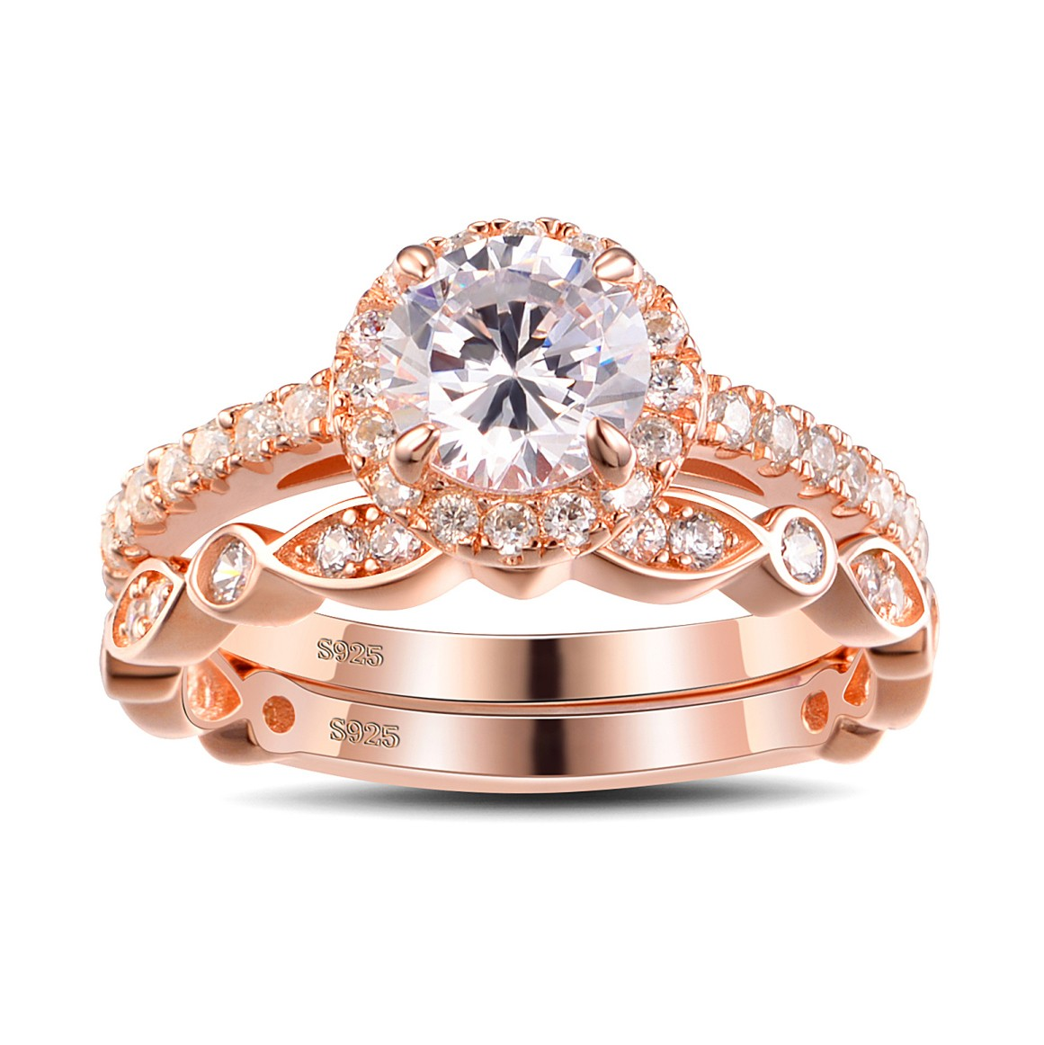 White Wedding Dress Gold Jewelry: Rose Gold Round Cut White Sapphire Sterling Silver Bridal