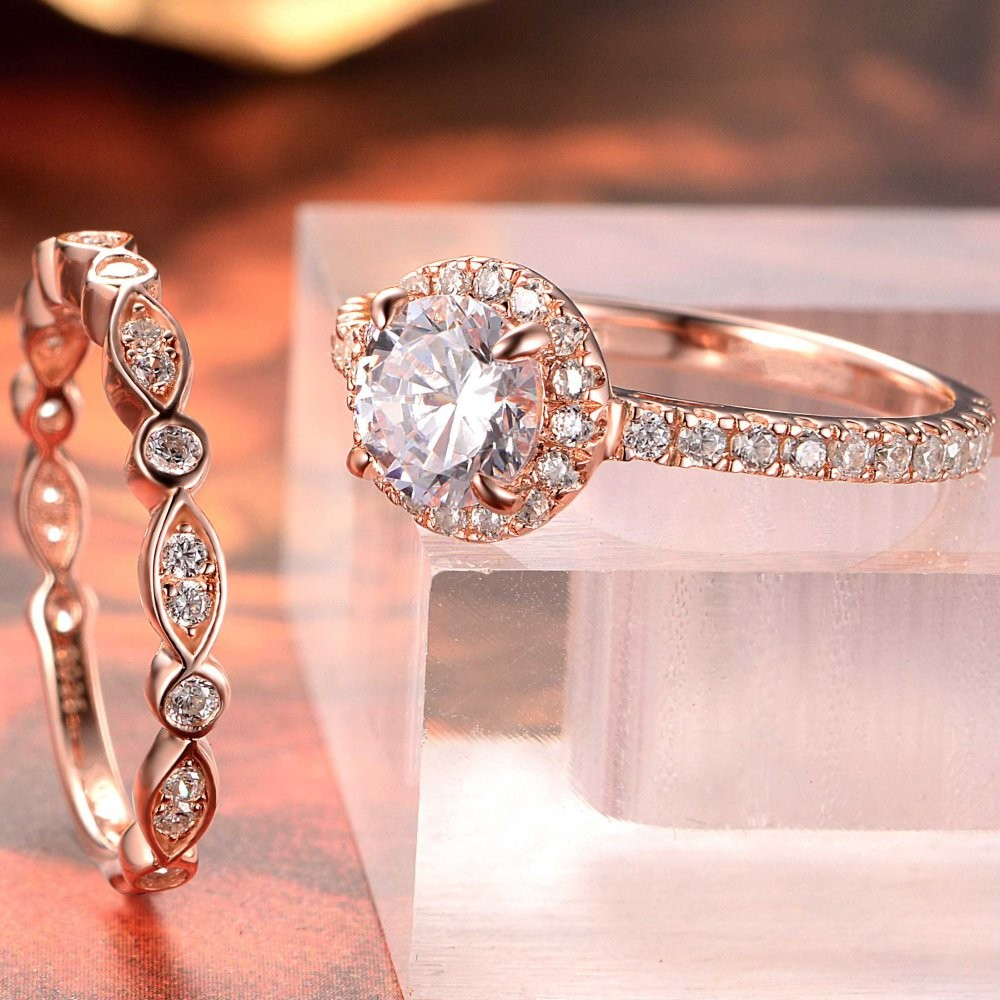 Rose Gold Round Cut White Sapphire Sterling Silver Bridal Sets ...