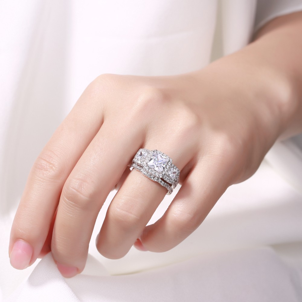 Princess Cut White Sapphire 925 Sterling Silver Halo 3-Stone Bridal ...