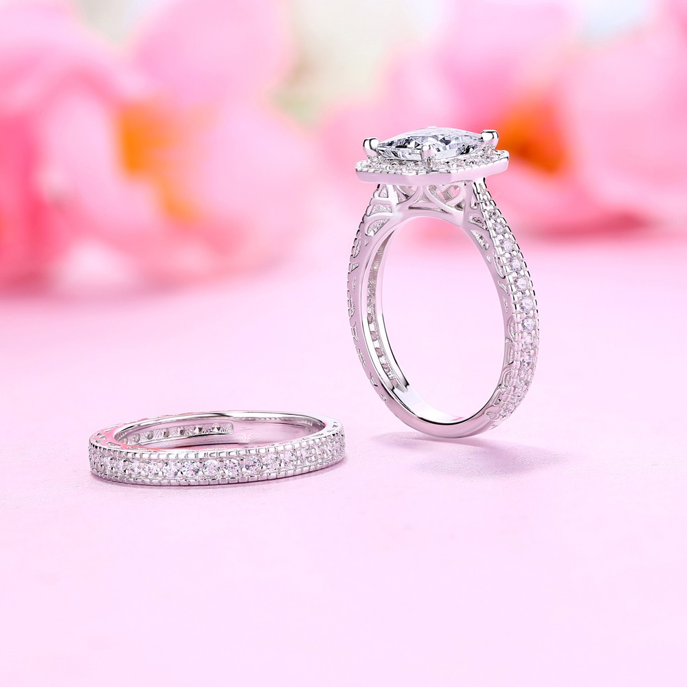 Princess Cut White Sapphire 925 Sterling Silver Halo Ring Sets ...