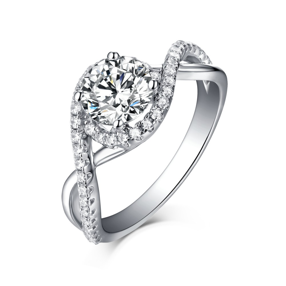 Unique Engagement Rings For Women: Unique Round Cut 925 Sterling Silver Halo White Sapphire