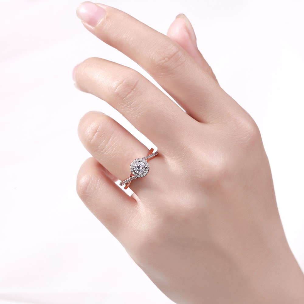 Round Cut Rose Gold 925 Sterling Silver White Sapphire Halo ...