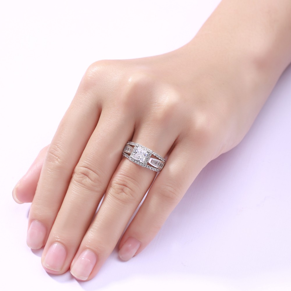 75a8c7e4041 Amazing Princess Cut 925 Sterling Silver Women's Engagement Ring