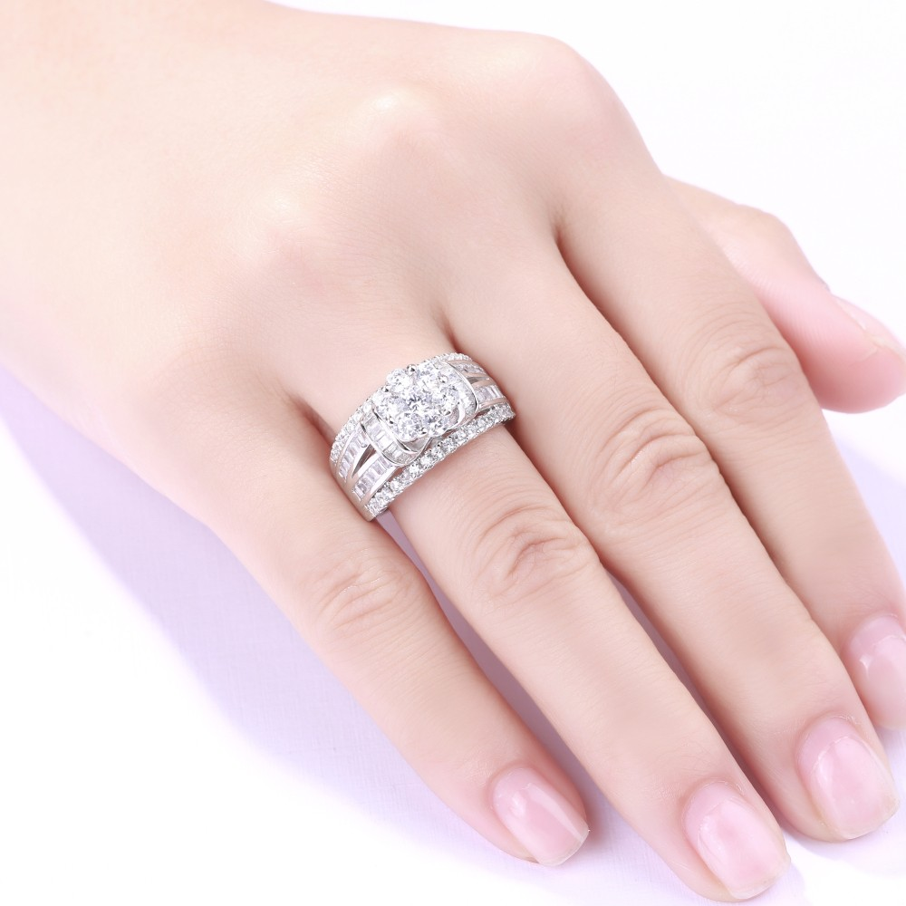Round Cut Flower White Sapphire 925 Sterling Silver Women\'s ...