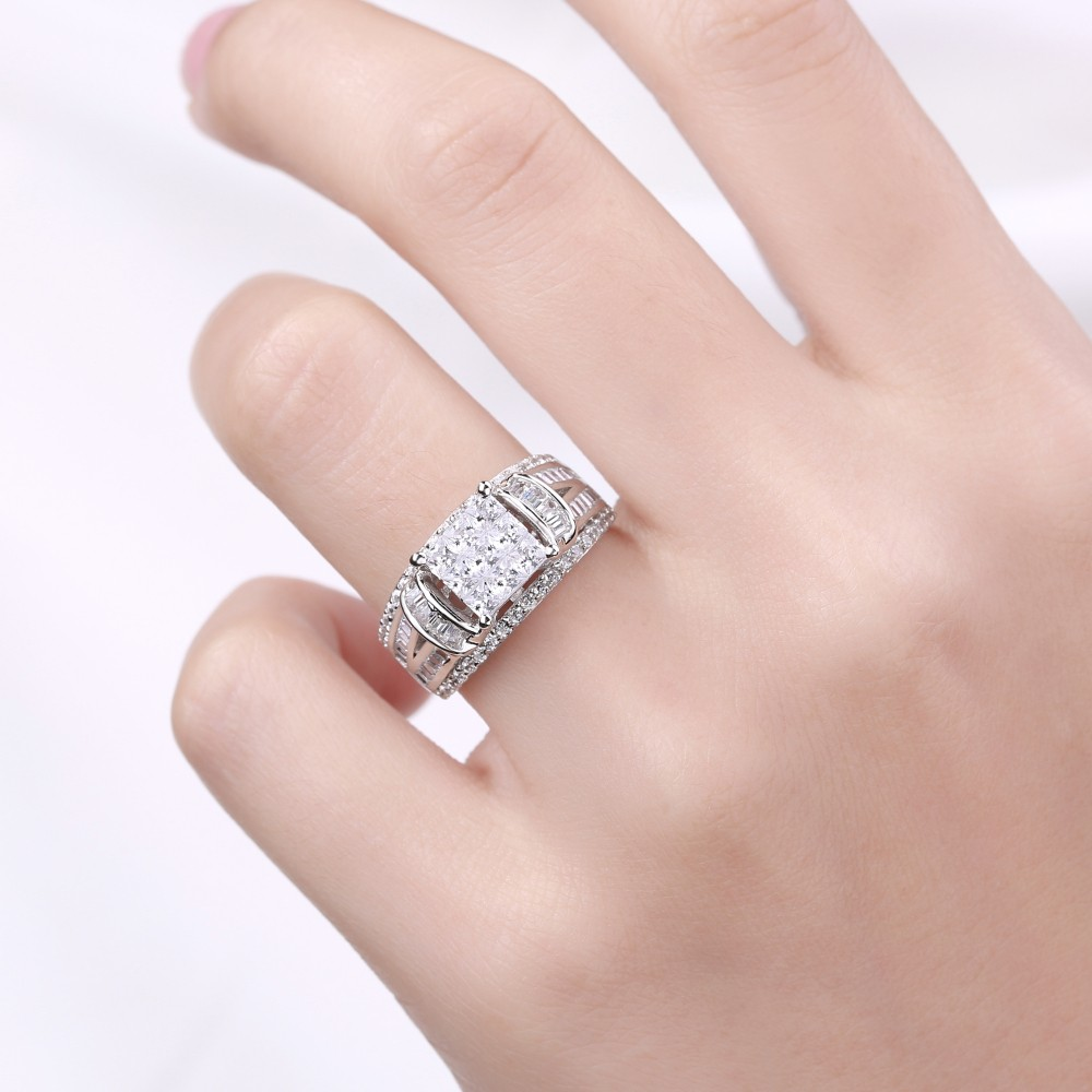 Princess Cut 925 Sterling Silver White Sapphire Women\'s Engagement ...