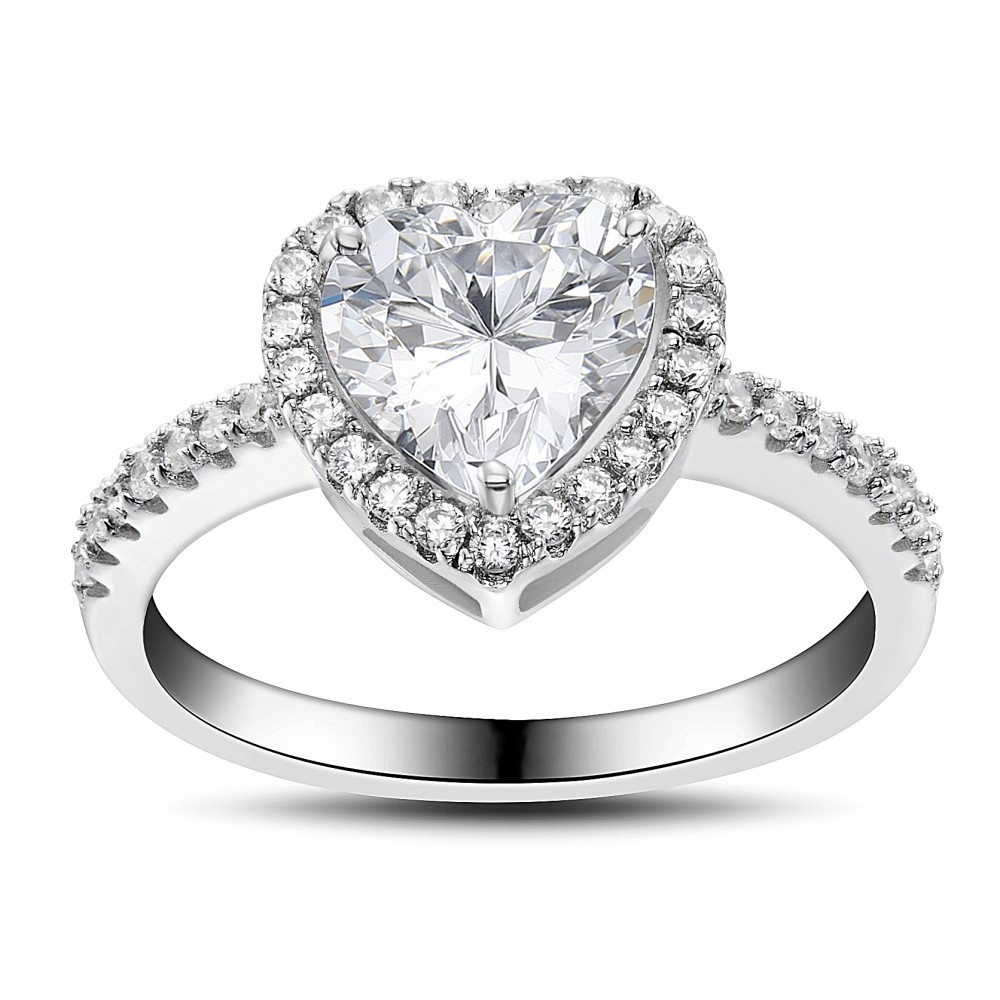 Engagement Rings Sale Price: Heart Cut Gemstone 925 Sterling Silver Engagement Ring