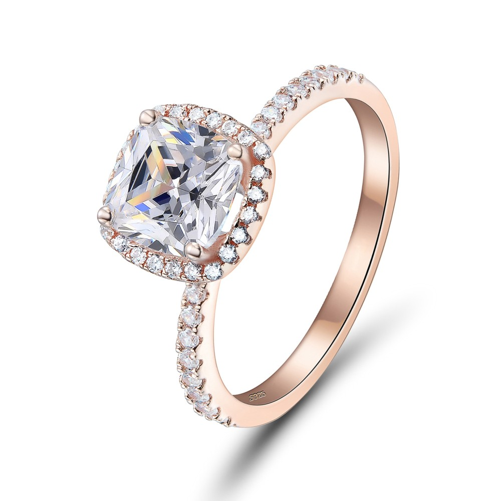 Engagement Rings Sale Price: Cushion Cut Rose Gold 925 Sterling Silver Engagement Ring