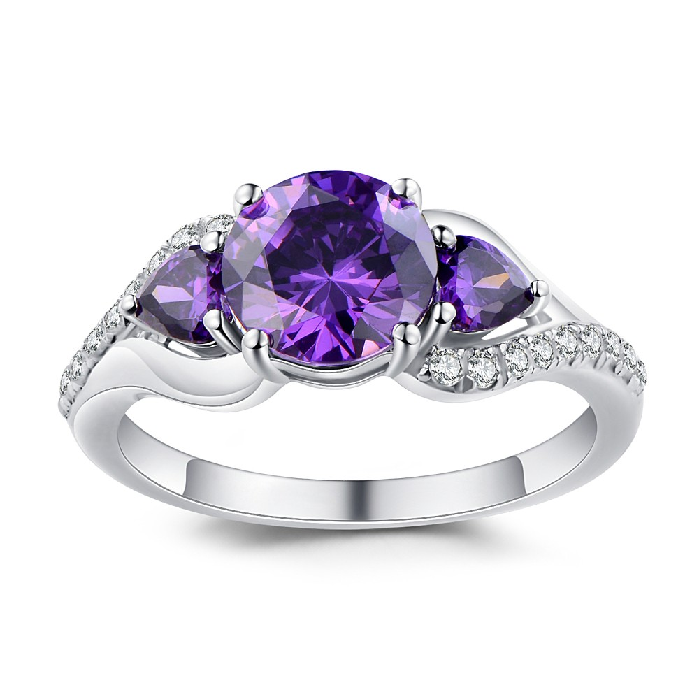 Round Cut Amethyst 925 Sterling Silver Promise Rings For