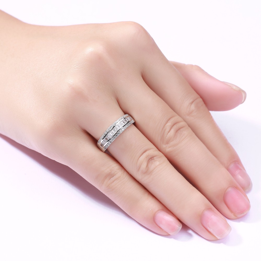 Emerald Cut White Sapphire 925 Sterling Silver Wedding Bands ...