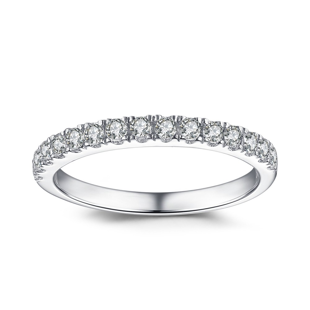 Simple Round Cut White Sapphire 925 Sterling Silver Women ...