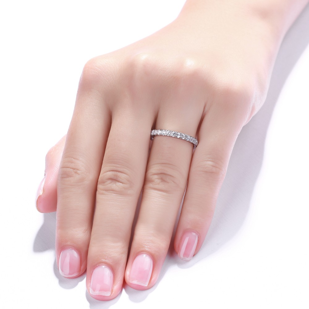 Simple Round Cut White Sapphire 925 Sterling Silver Women\'s ...