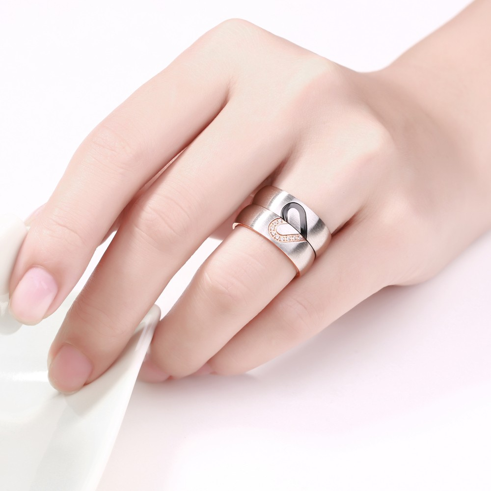 Elegant Heart Design Titanium Steel Gemstone Promise Ring for ...