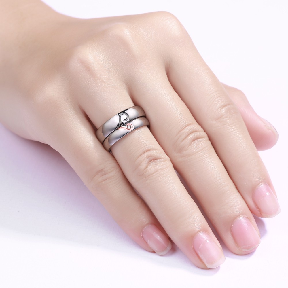 Heart Design Titanium Steel Gemstone Promise Ring for Couples ...