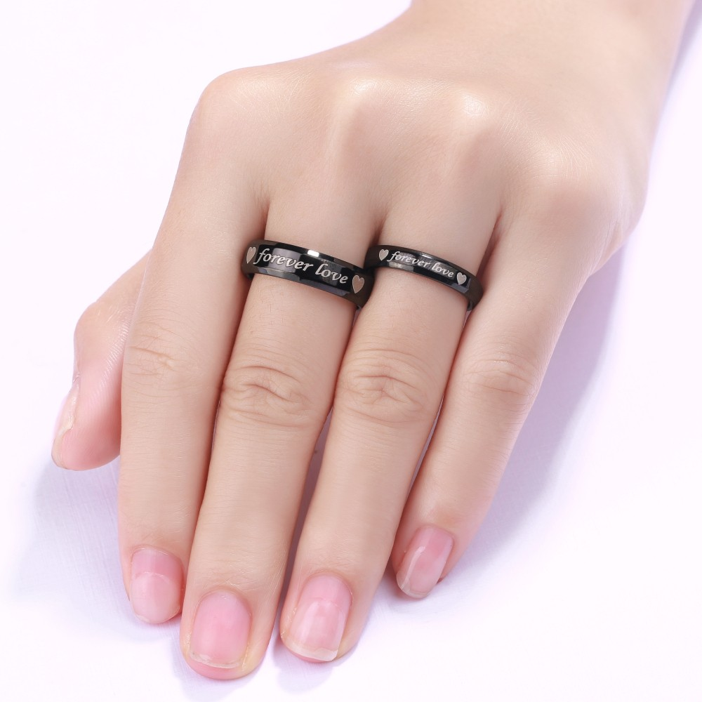 Cute Forever Love Black Titanium Steel Promise Ring for Couples ...