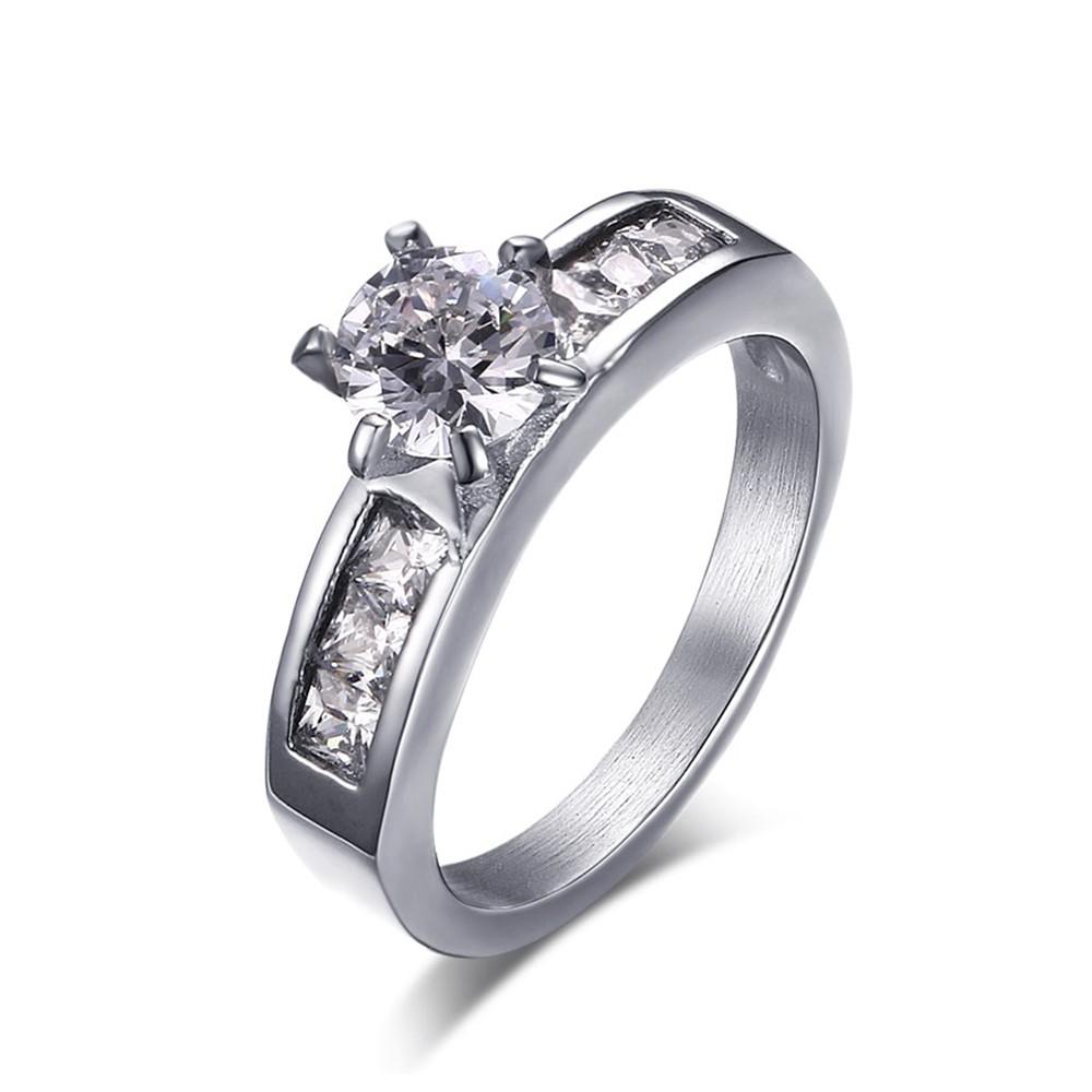 Engagement Rings Sale Price: Round Cut Gemstone Silver Titanium Steel Women's
