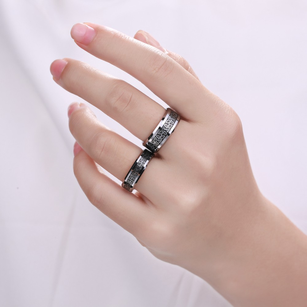 Titanium Steel Silver Black Promise Rings for Couples - Lajerrio Jewelry
