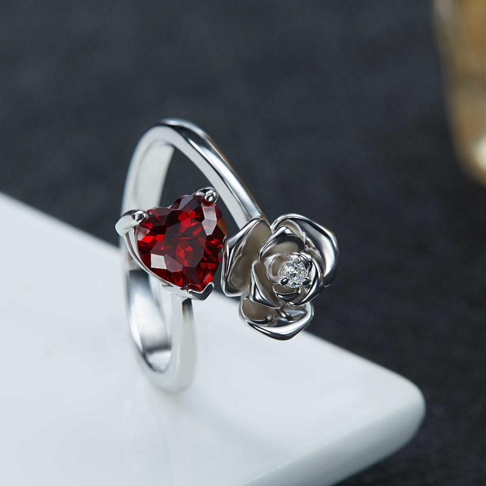 heart cut garnet 925 sterling silver promise rings for her. Black Bedroom Furniture Sets. Home Design Ideas