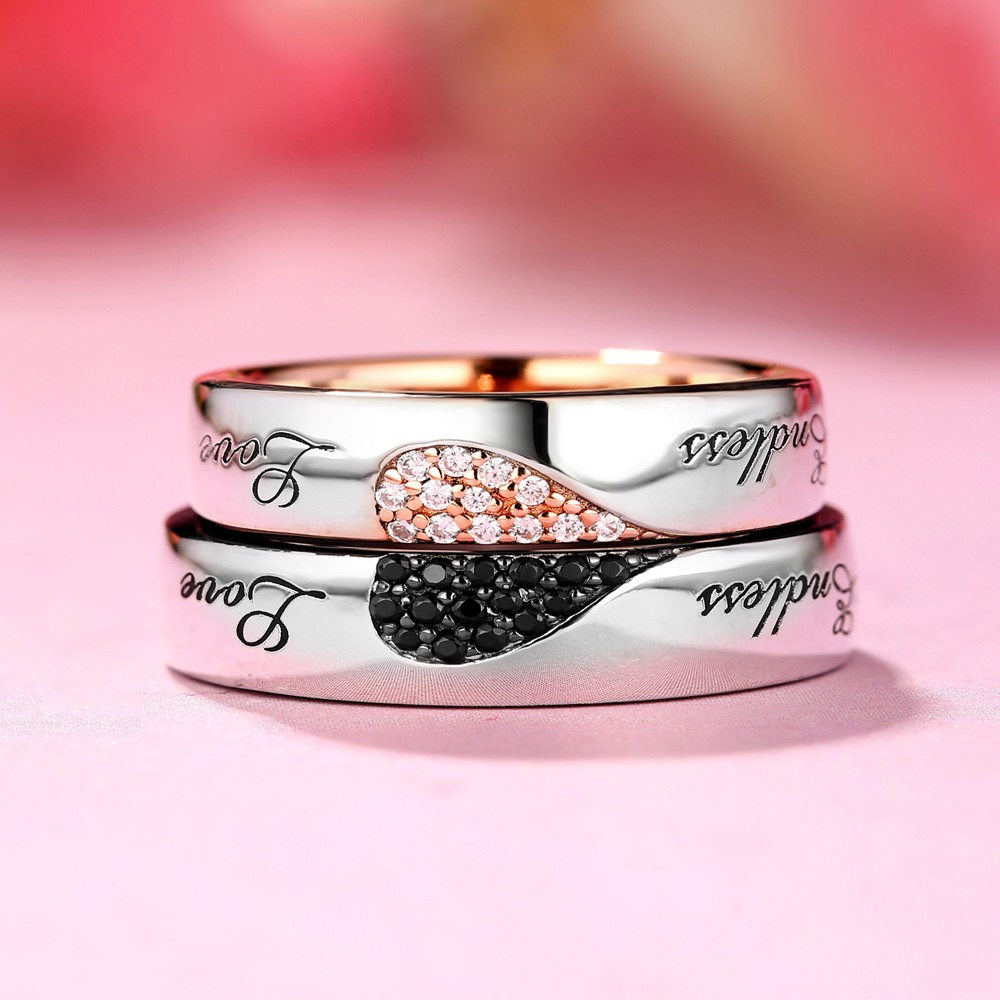 Endless Love White and Black Sapphire s925 Silver Rose Gold Couple ...