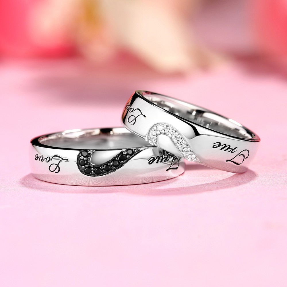 True Love White and Black Sapphire s925 Silver Couple Rings ...