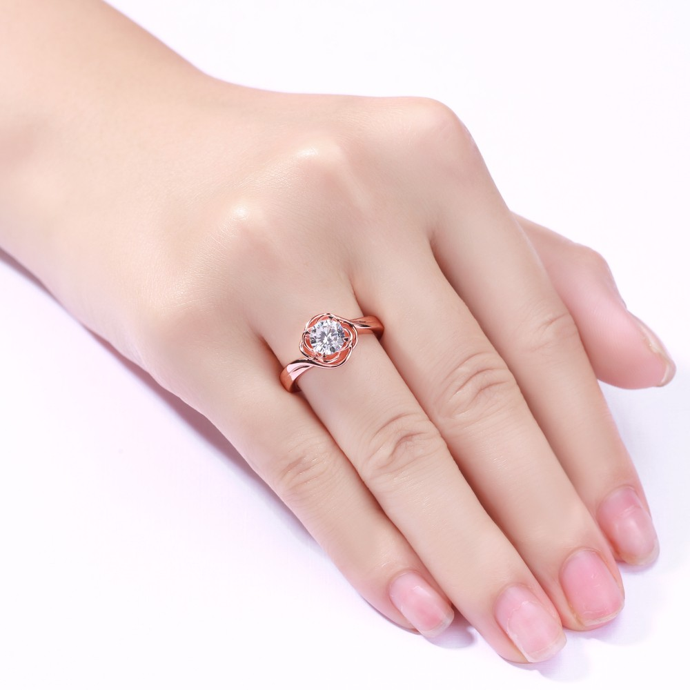 Round Cut White Sapphire Sterling Silver Rose Gold Promise Rings ...