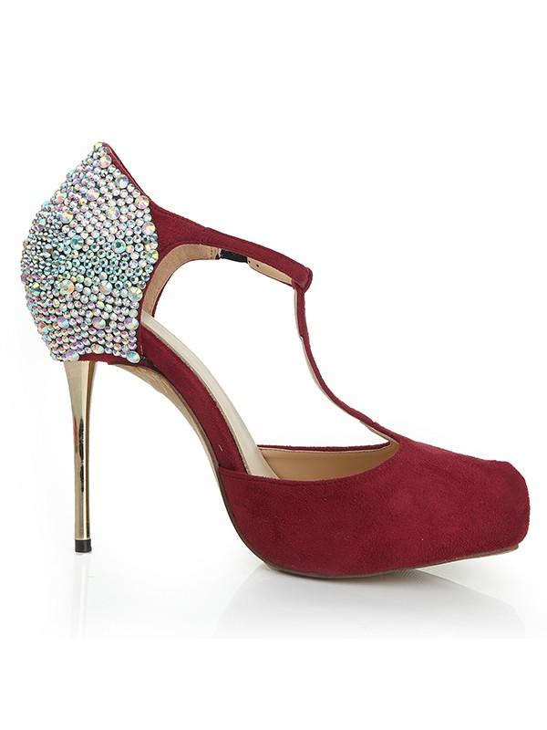 db5ff128e18 Women s Suede Stiletto Heel Closed Toe Platform With Rhinestone Platforms  Shoes
