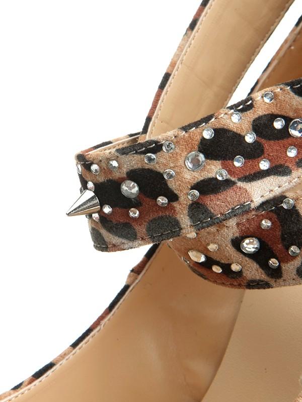 1c838af7827 Women s Suede Stiletto Heel Closed Toe Platform With Leopard Print  Platforms Shoes