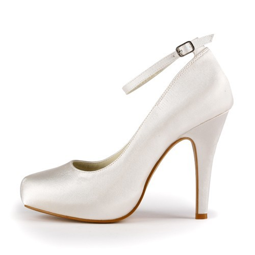 bdc3bc63e4d902 Women s Satin Stiletto Heel Closed Toe Platform Ivory Wedding Shoes With  Buckle