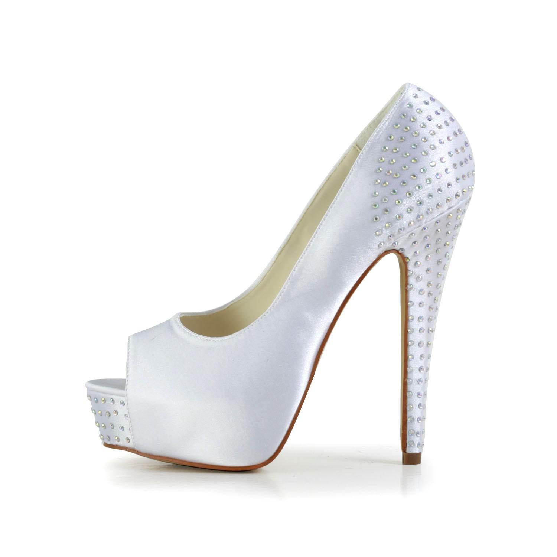 36ca3fcdd1a6 Women s Satin Stiletto Heel Peep Toe Platform White Wedding Shoes With  Rhinestone