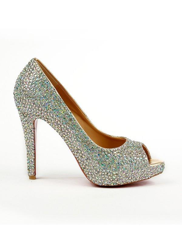 4ae50bb741358 Women s Sheepskin Peep Toe Stiletto Heel Platform With Rhinestone Platforms  Shoes