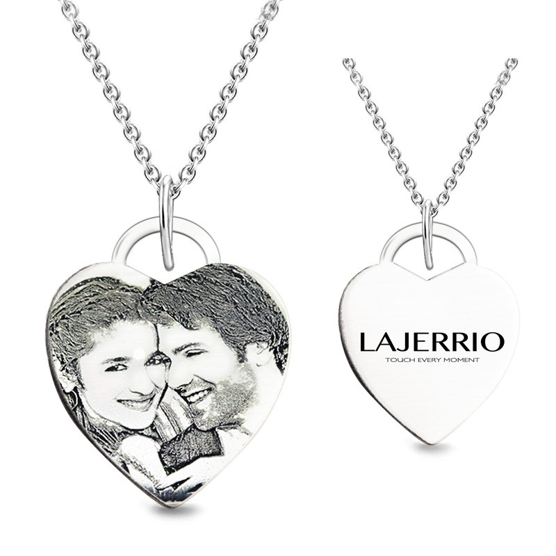 S925 Heart Personalized Photo Engraved Necklace (Chains Not Included)