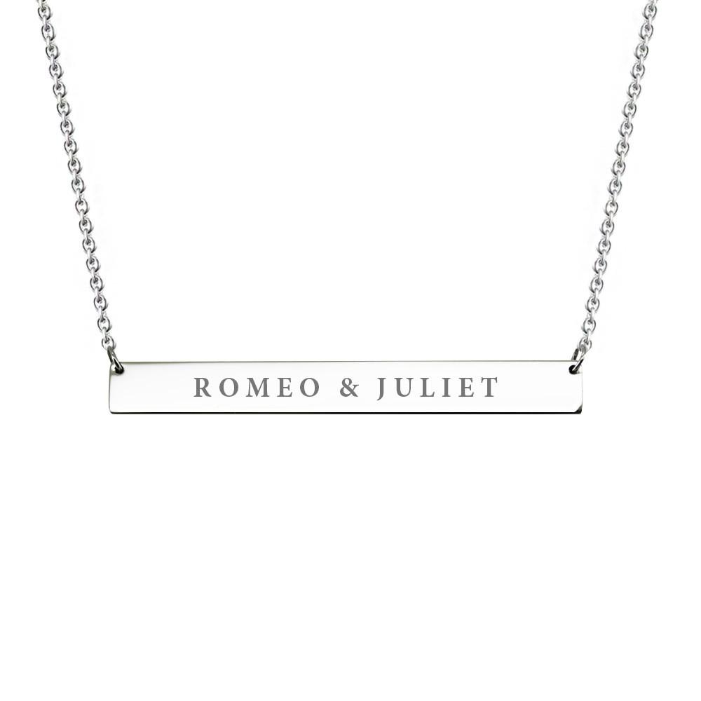 Titanium Steel Engraved Bar Pendant Necklace