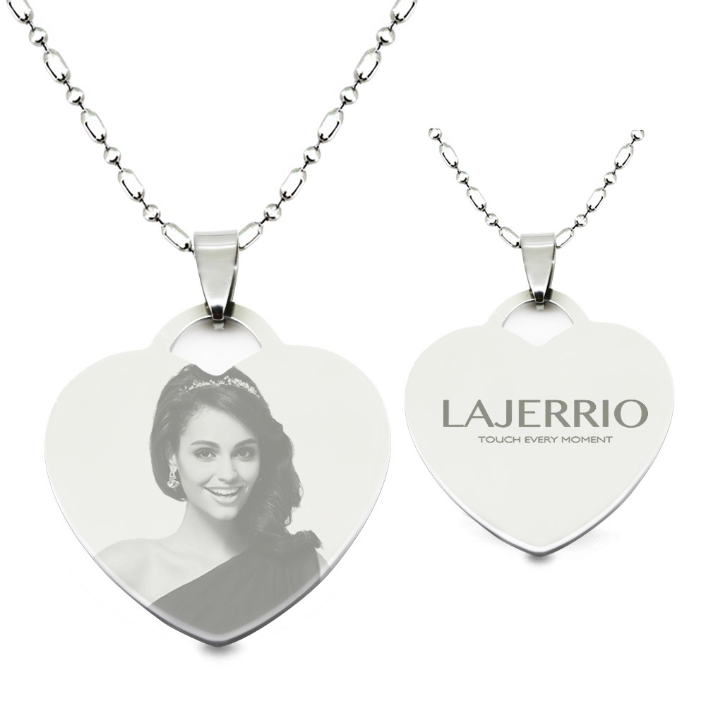 Titanium steel personalized photo engraved heart shape pendant titanium steel personalized photo engraved heart shape pendant necklace lajerrio jewelry aloadofball Image collections