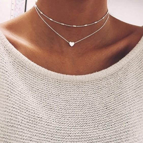 Women Gold Silver Plated Heart Bib Statement Simplicity Choker Set