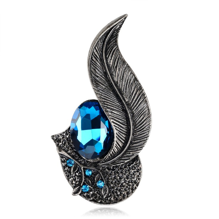 Black Feather Unique Sinble Needle Brooch