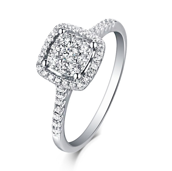 Round Cut White Sapphire 925 Sterling Silver Halo Engagement Rings Lajerrio Jewelry