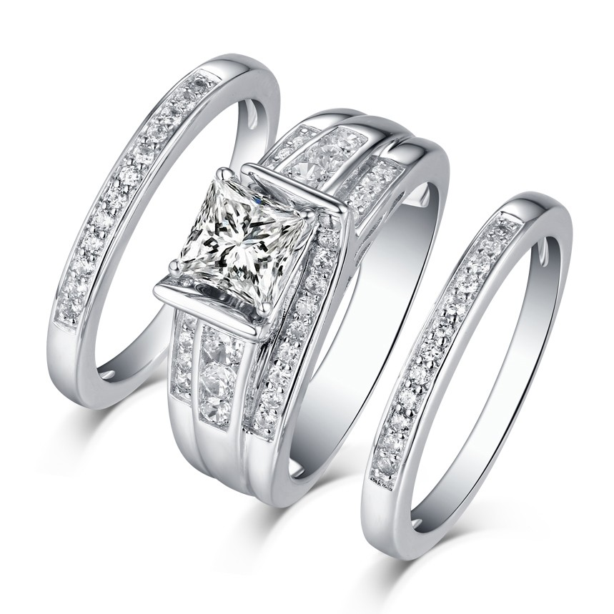 Princess Cut 925 Sterling Silver White Sapphire 3 Piece Ring Sets